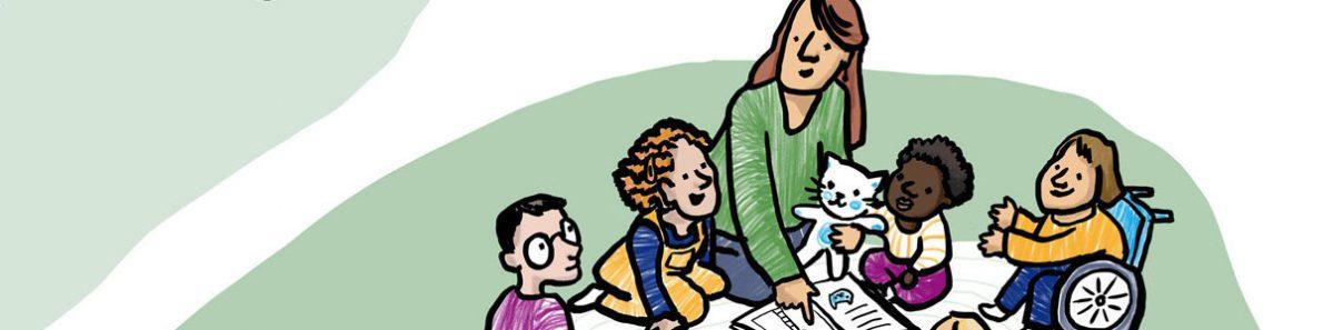 Illustration Erzieherin mit Kindern
